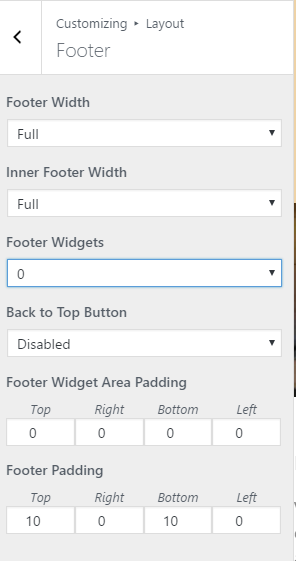 Footer Attributes